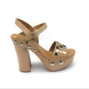 Mauro  Sforzi Platform Beige Studded Sandals  38